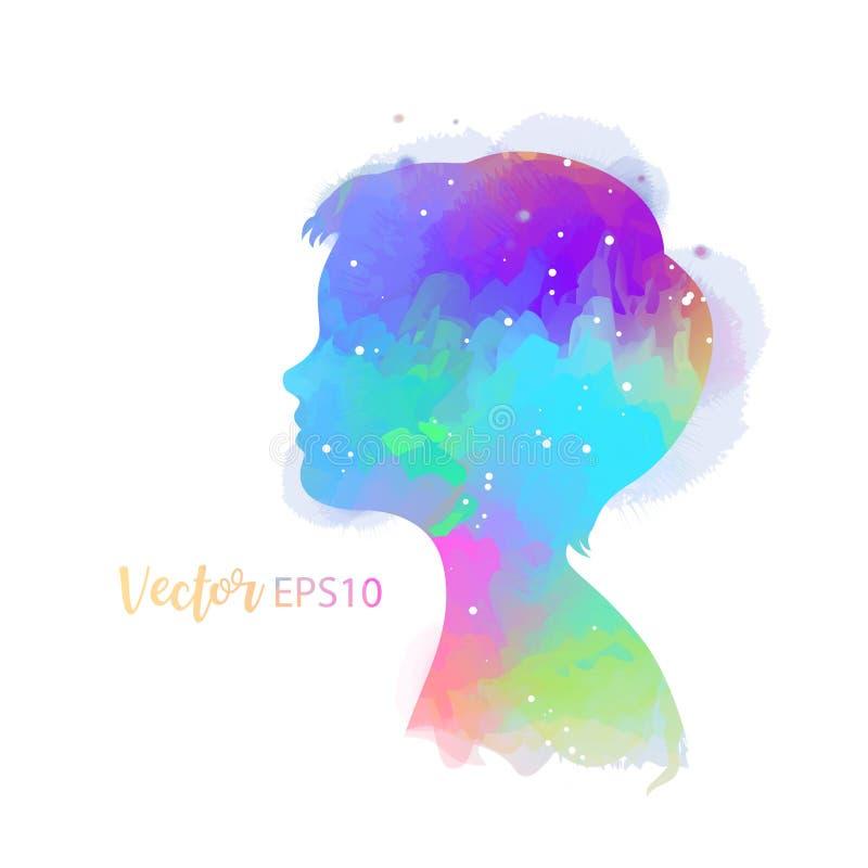 Boy head silhouette plus watercolor. Digital art painting. Vector illustration.  royalty free illustration