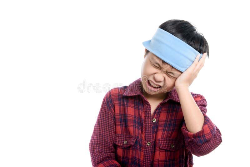 Boy headache stock photography