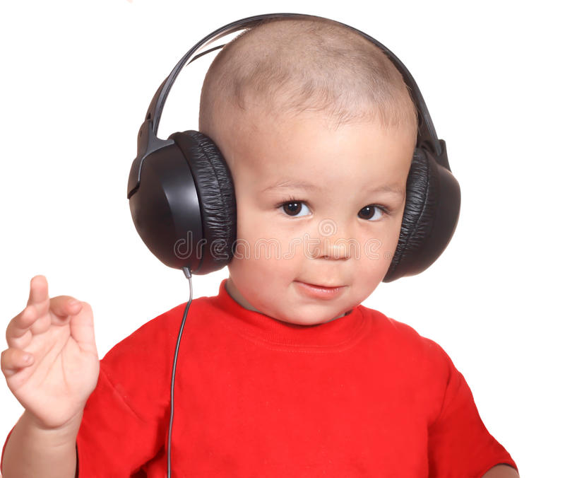 Boy with headphones stock images