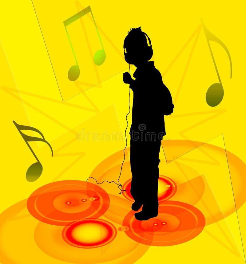 Boy and headphones stock illustration