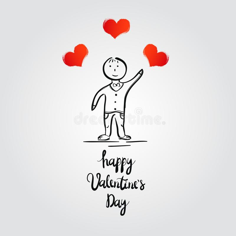 Boy with hearts. Valentine`s Day card. Vector illustration stock illustration