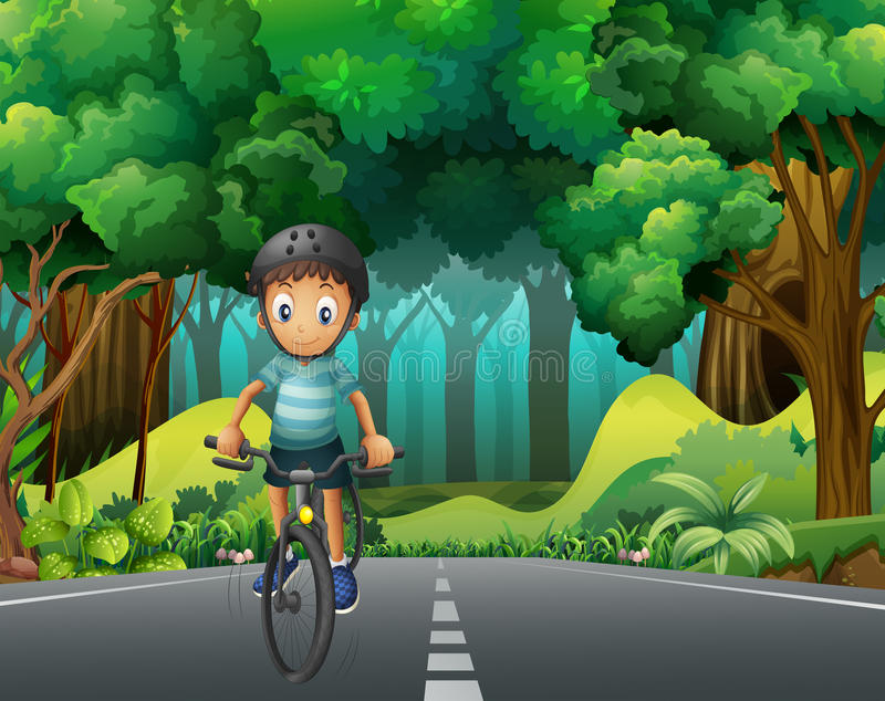 Boy with helmet riding bicycle on the road. Illustration royalty free illustration