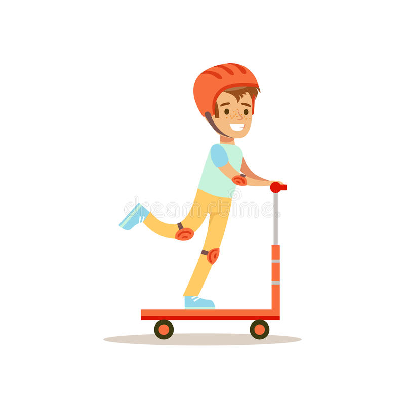 Boy In Helmet Riding Scooter, Traditional Male Kid Role Expected Classic Behavior Illustration. Part Of Series With Smiling Teenage Boys And Their Interests stock illustration