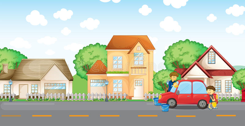 A boy helping his father cleaning the car royalty free illustration