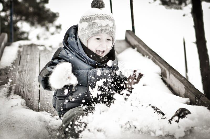 Boy on the hill stock photos