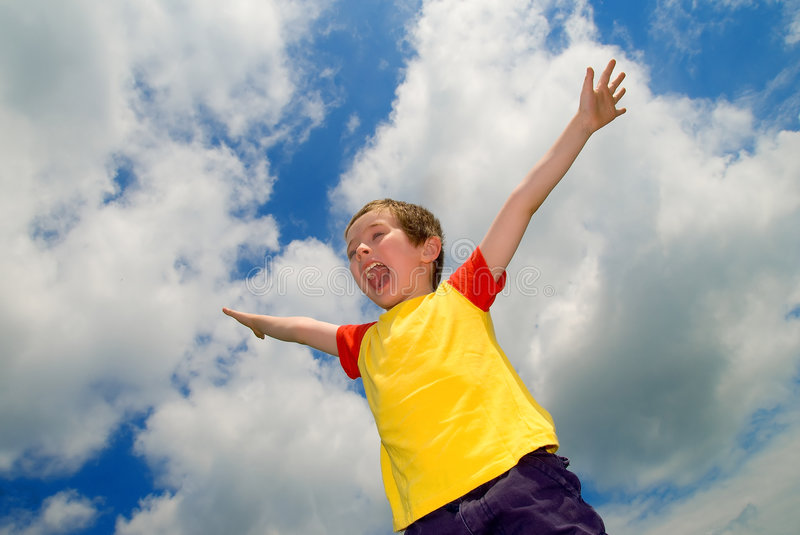 Download Boy With His Arms Wide Open Stock Image - Image: 2581245