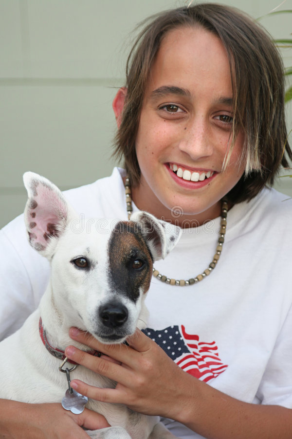 Download Boy & His Dog stock image. Image of ears, boys, spots, portrait - 157257
