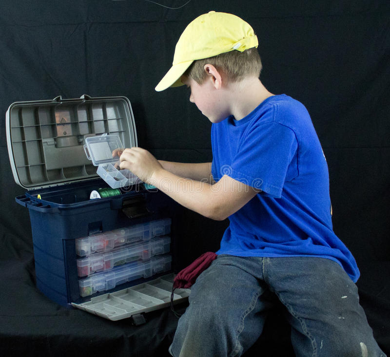 Download Boy with his fishing gear stock image. Image of fishing - 32321631
