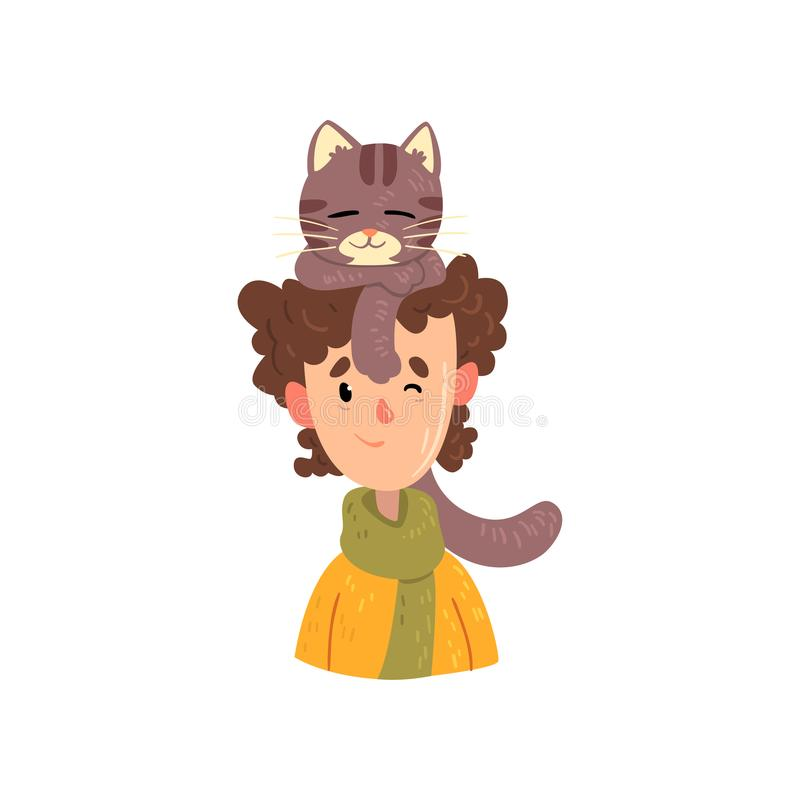Boy and his grey cat, adorable pet sleeping on the head of its owner vector Illustration on a white background stock illustration