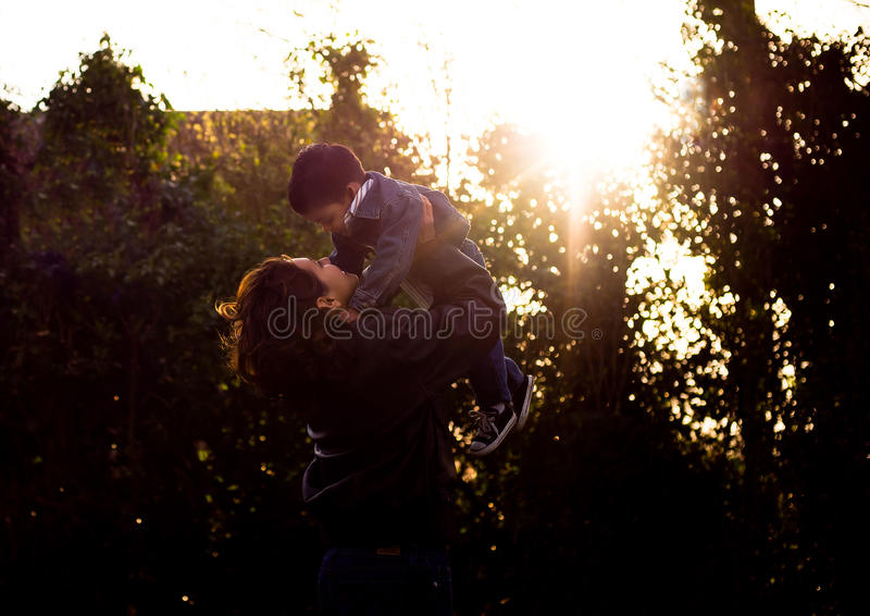 Download Boy and his Mother - Love stock photo. Image of backlight - 16528258