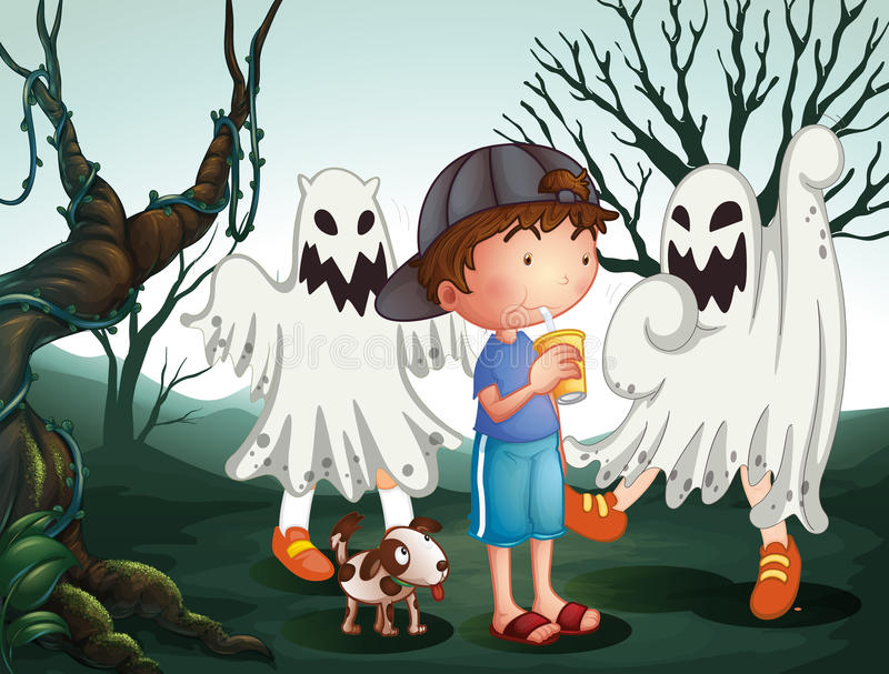 A boy and his pet at the graveyard with ghosts royalty free illustration