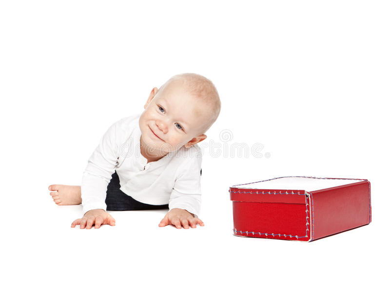 Download A boy and his red lunchbox stock image. Image of portrait - 11837469