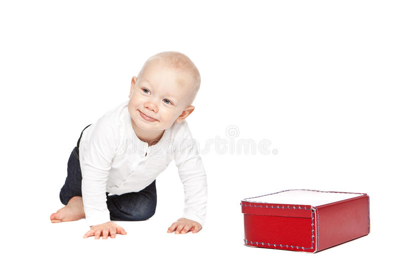 Download A boy and his red lunchbox stock image. Image of shirt - 11837489