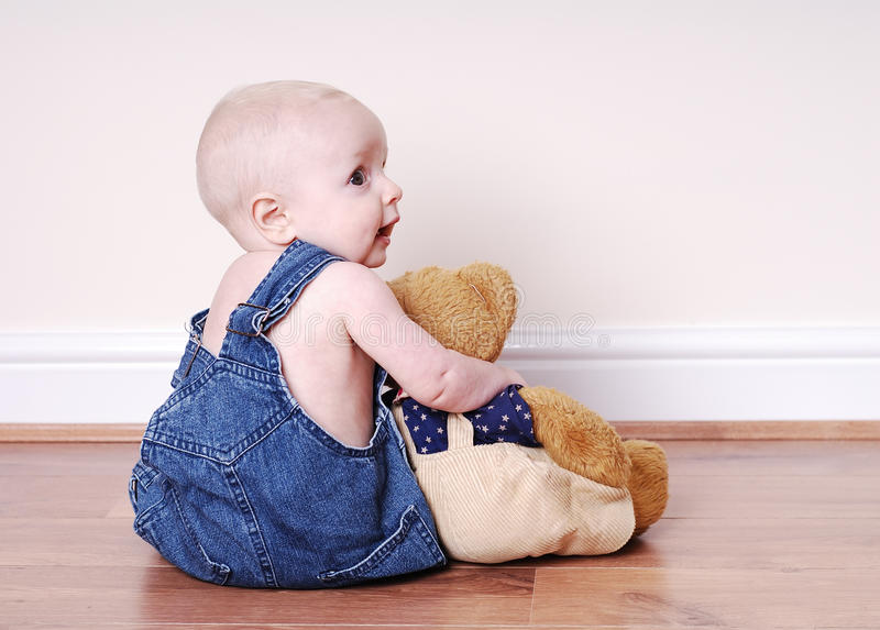 Download Boy and his teddy stock photo. Image of happyness, love - 14326112