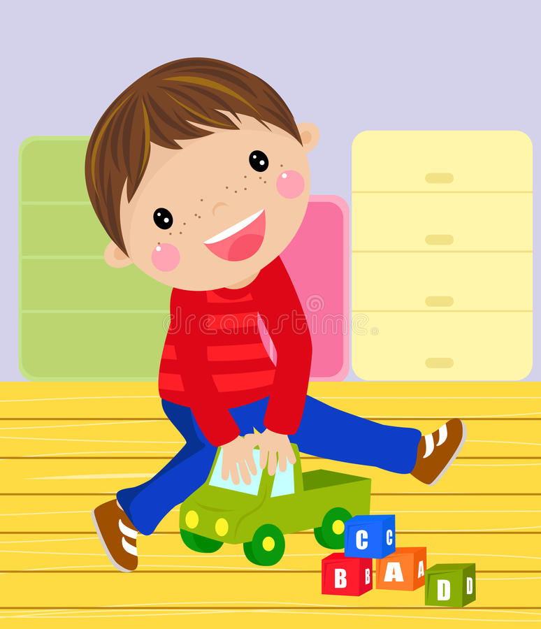 Boy with his toy vector illustration
