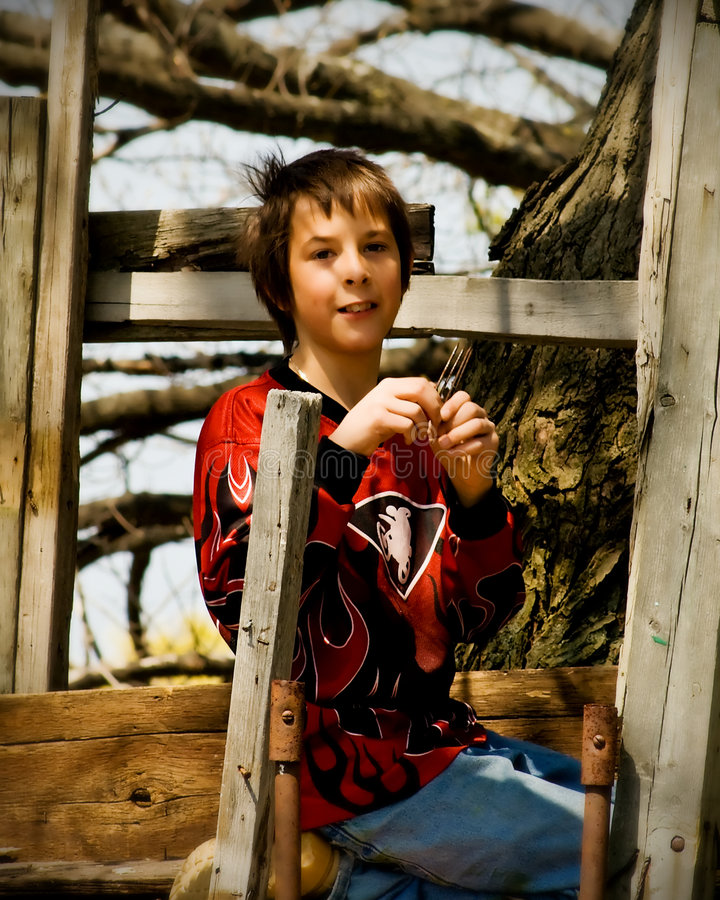 Download Boy and His Tree House stock photo. Image of shirt, dude - 5487292