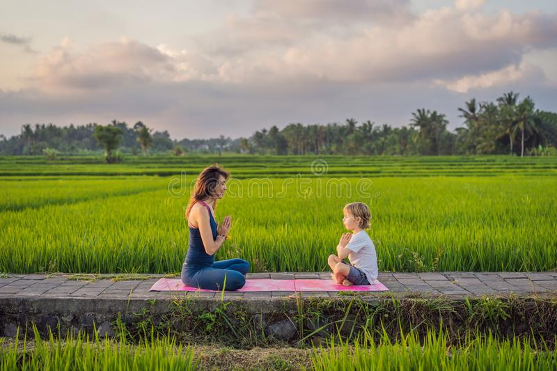 Boy and his yoga teacher doing yoga in a rice field.  royalty free stock photos