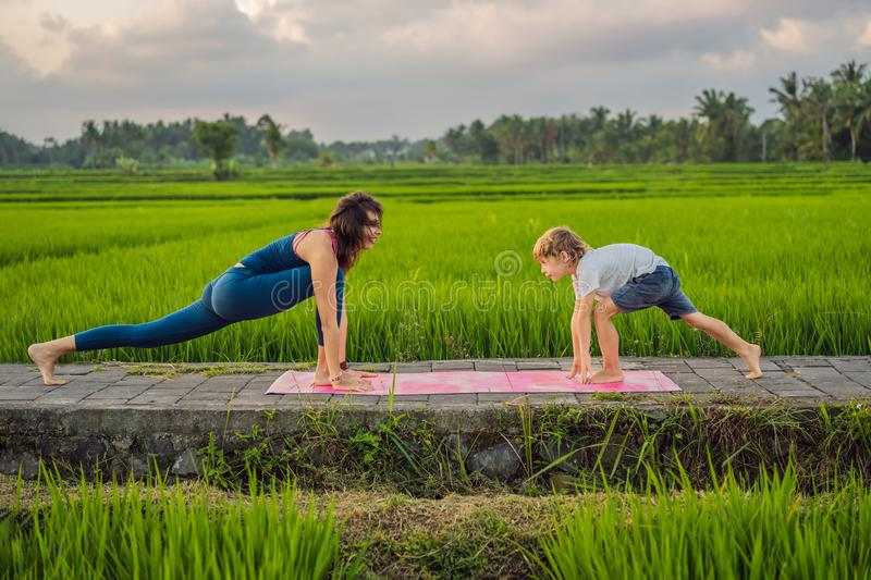 Boy and his yoga teacher doing yoga in a rice field royalty free stock image