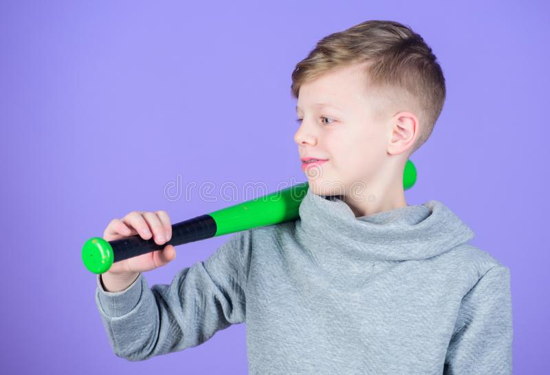 Boy hold baseball bat. Sport and hobby. Teenager boy likes baseball. Active leisure and lifestyle. Healthy childhood stock photos