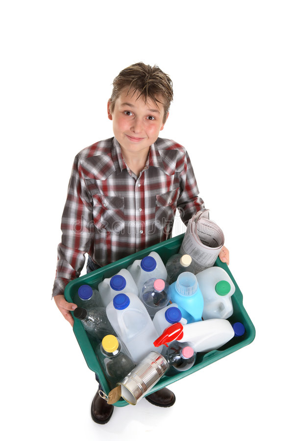 Boy hold recycling container stock photos