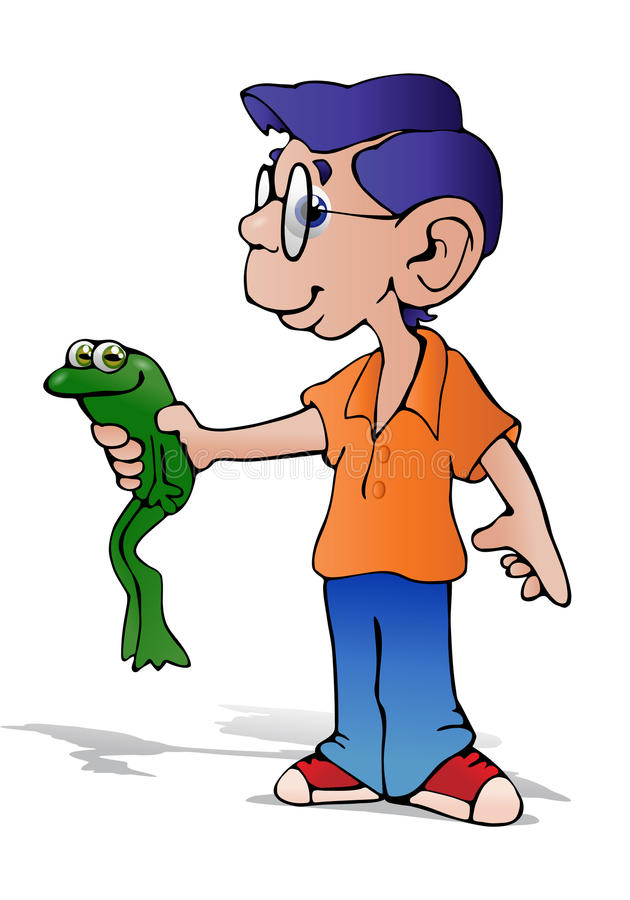 Download Boy hold toad stock illustration. Image of late, hold - 28195246