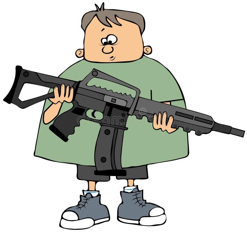 Download Boy Holding An Assault Rifle Stock Illustration - Illustration: 28730841