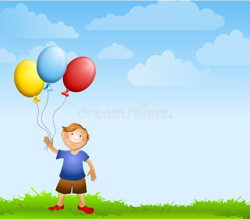 Boy Holding Balloons Background royalty free illustration