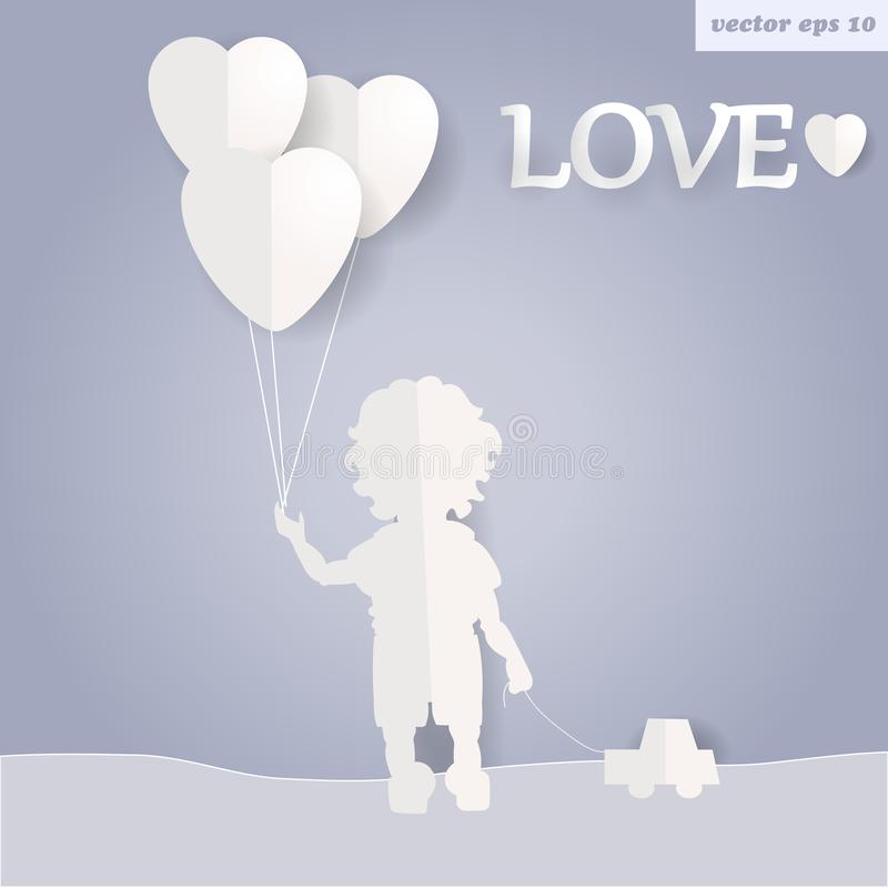 Boy. The boy is holding baloons. adopt a kid illustration..paper art and craft style. element for poster, billboard, print,etc vector illustration