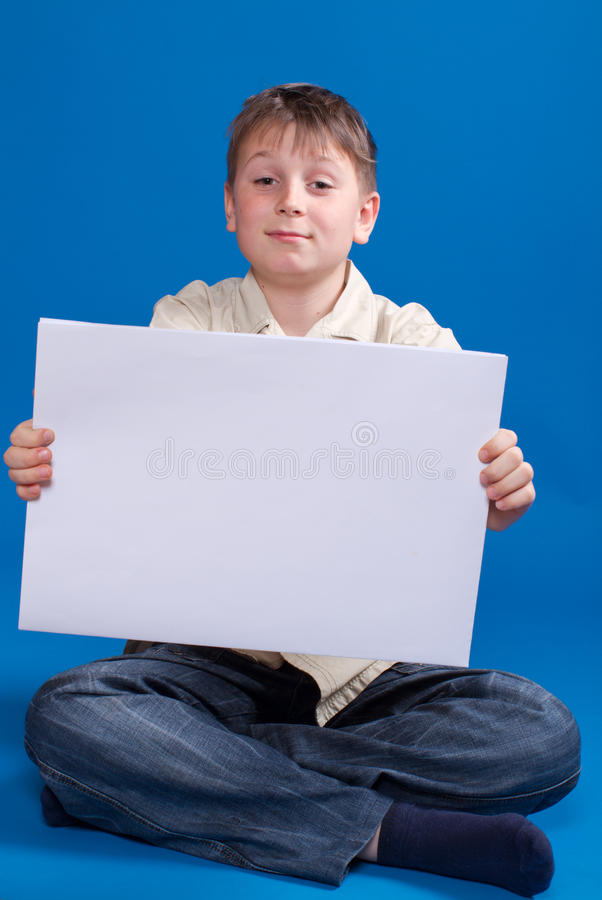 Download Boy holding a blank stock image. Image of face, advert - 28438583