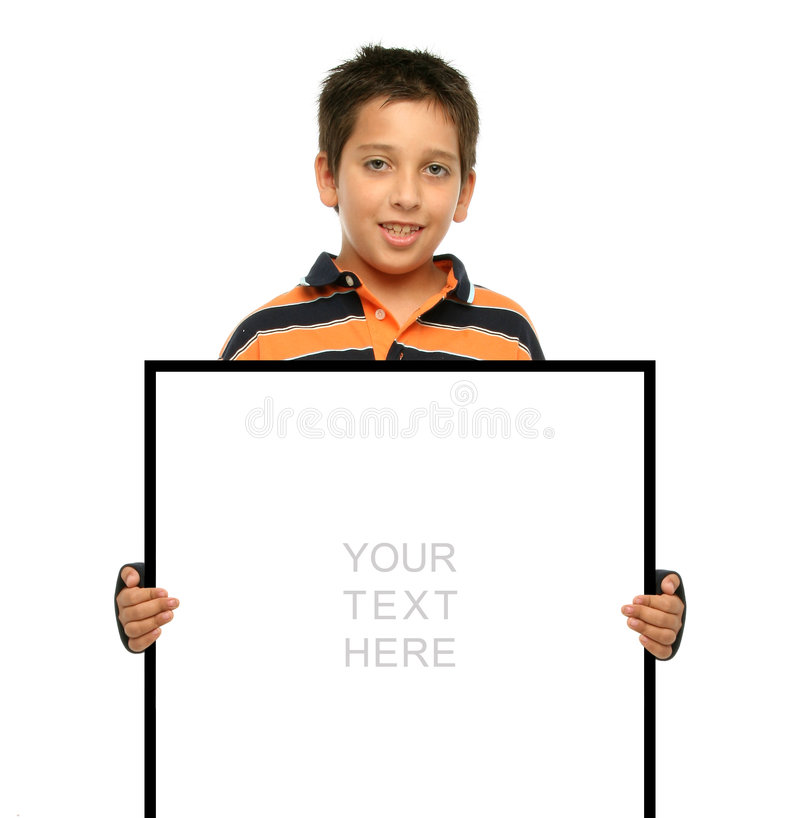 Boy holding a blank sign. Child holding an empty sign over a white background royalty free stock photos