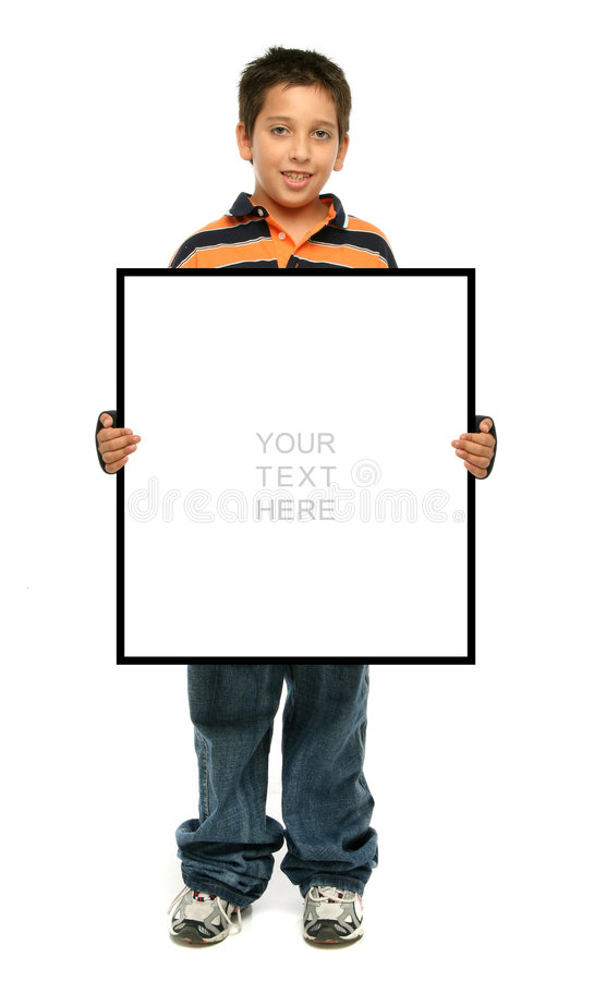 Boy holding a blank sign. Child holding an empty sign over a white background stock photos
