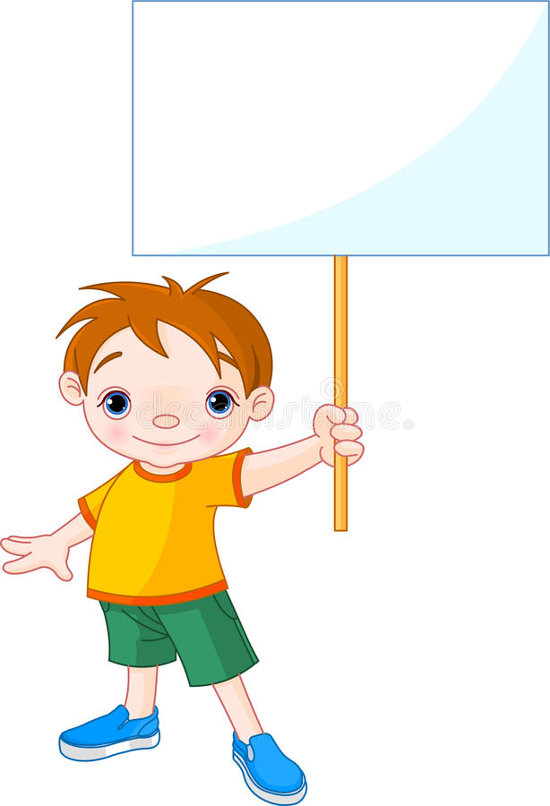 Boy holding a blank sign for your message