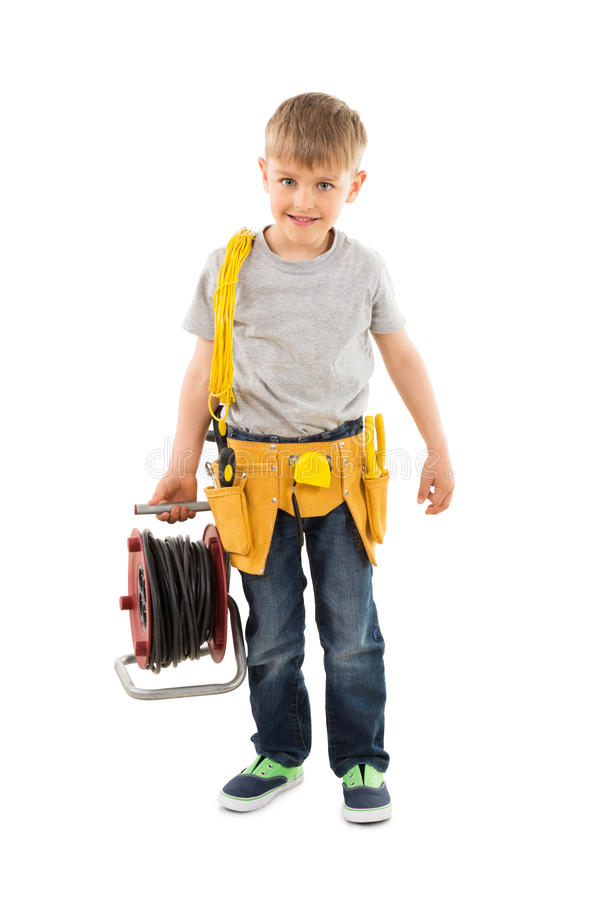 Boy Holding Cable Spool stock images