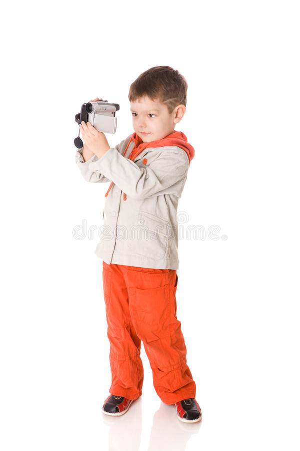 Download Boy holding camera stock photo. Image of recording, childhood - 11331516
