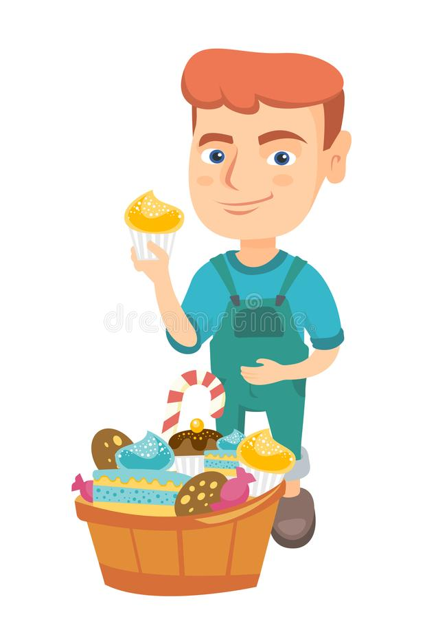 Boy holding a cupcake and stroking his belly. Little caucasian boy holding a yummy cupcake and stroking his belly. Happy boy standing near the bowl full of vector illustration