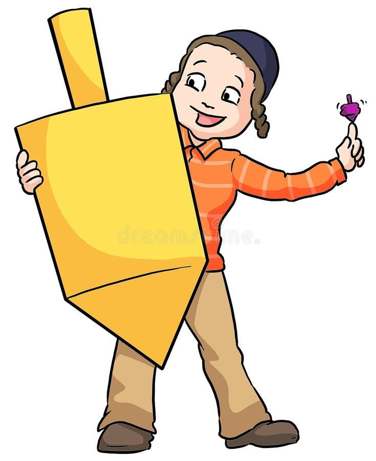 Boy holding dreidel. Little Chanuka boy holding a large spinning top dreidel royalty free illustration