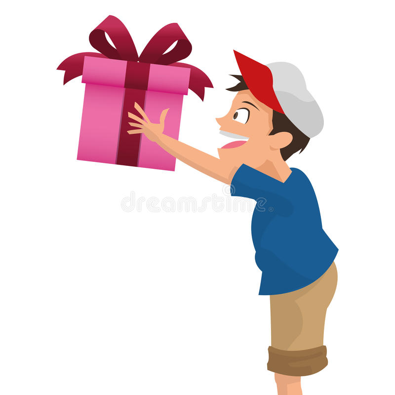 boy holding gift icon royalty free illustration