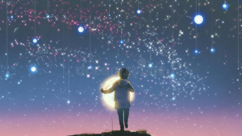Boy holding glowing moon standing against hanging stars royalty free illustration