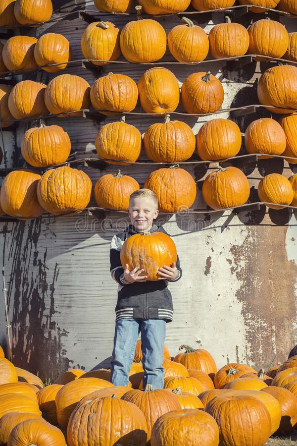 Boy holding a Halloween pumpkin at a pumpkin patch farm royalty free stock images