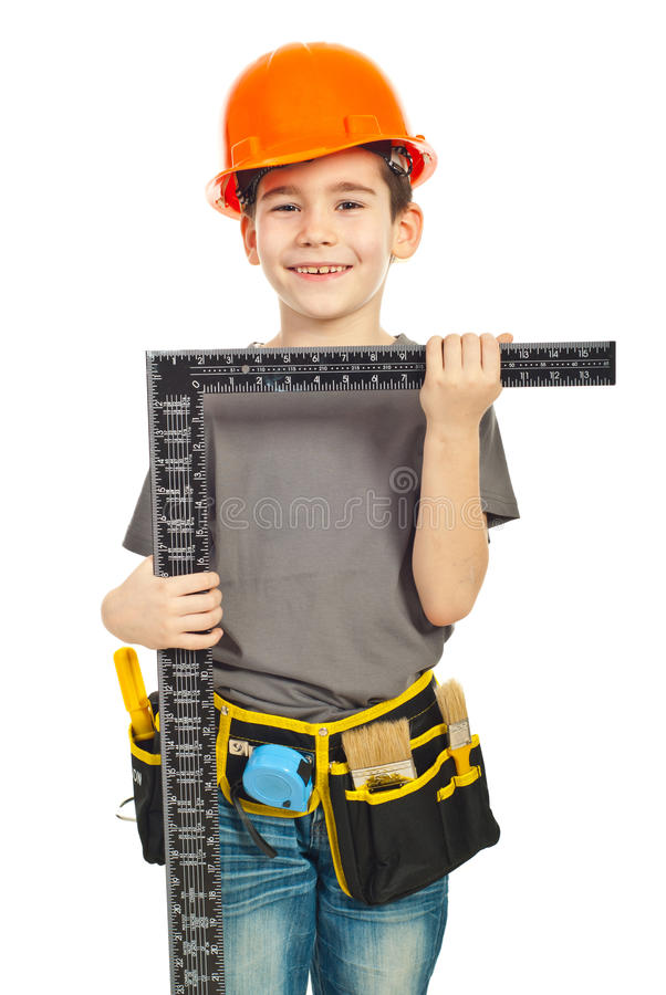 Download Boy holding L square ruler stock photo. Image of cheerful - 19027174