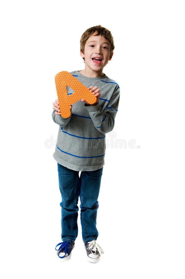 Boy Holding A Letter A Stock Photography