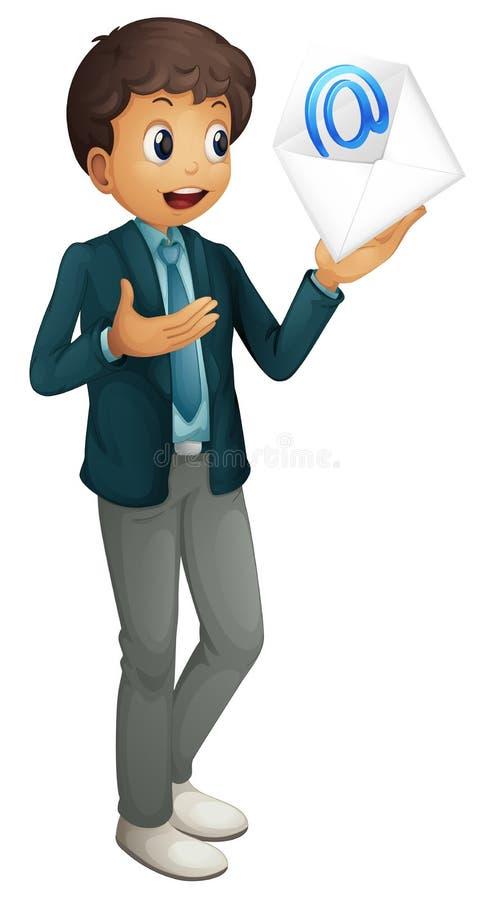 Download A boy holding mail envelop stock vector. Illustration of pocket - 25874353