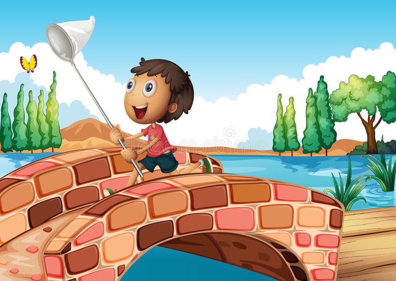 A boy holding a net catching a butterfly vector illustration