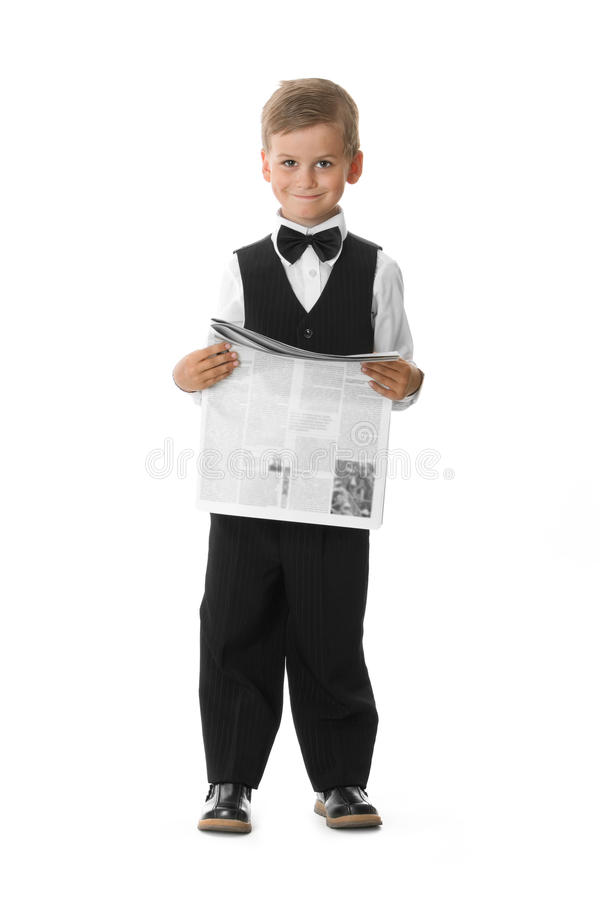 Boy Holding A Newspaper Stock Photo