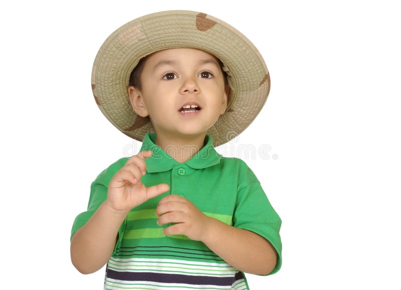 Boy holding nothing stock photo