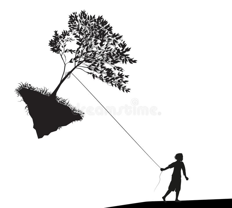 Boy holding and pulling the tree on flying rock, take last tree, mankind and environment, vector illustration