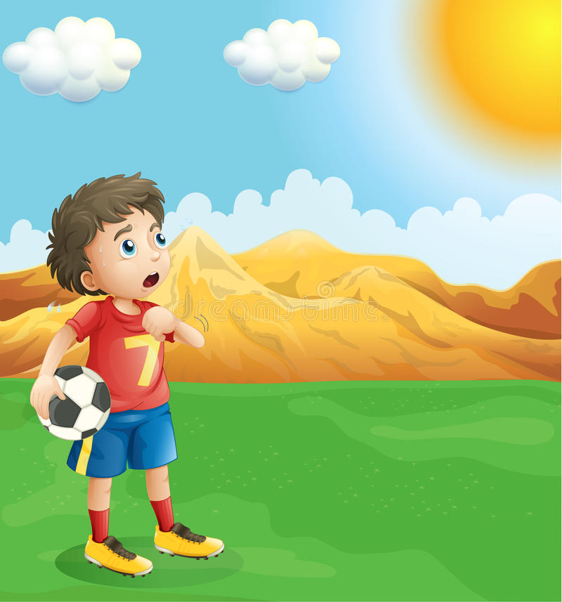 Download A Boy Holding A Soccer Ball Sweating Stock Vector - Illustration of opponent, outdoor: 33098975