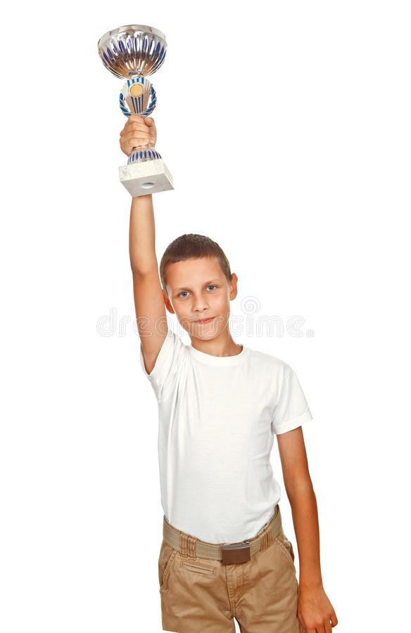 Boy Holding Sport Cup Royalty Free Stock Image