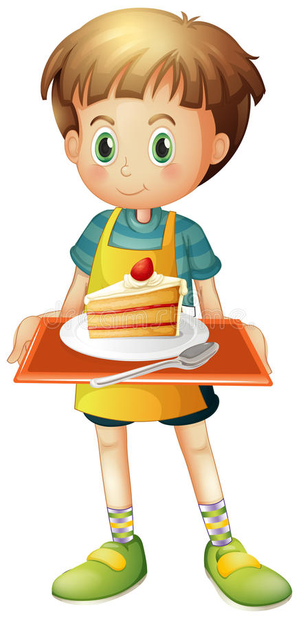 A boy holding a tray with a slice of cake in a plate