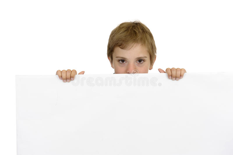 Download Boy Holding A White Cardboard Royalty Free Stock Photo - Image: 25246875